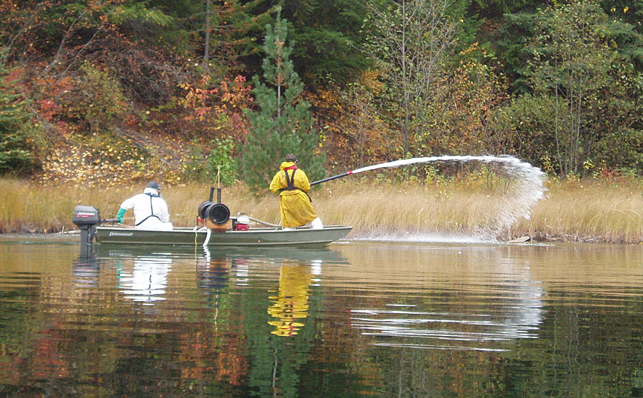Lake treatment to eradicate invasive alien species. Photo courtesy Steve Maricle