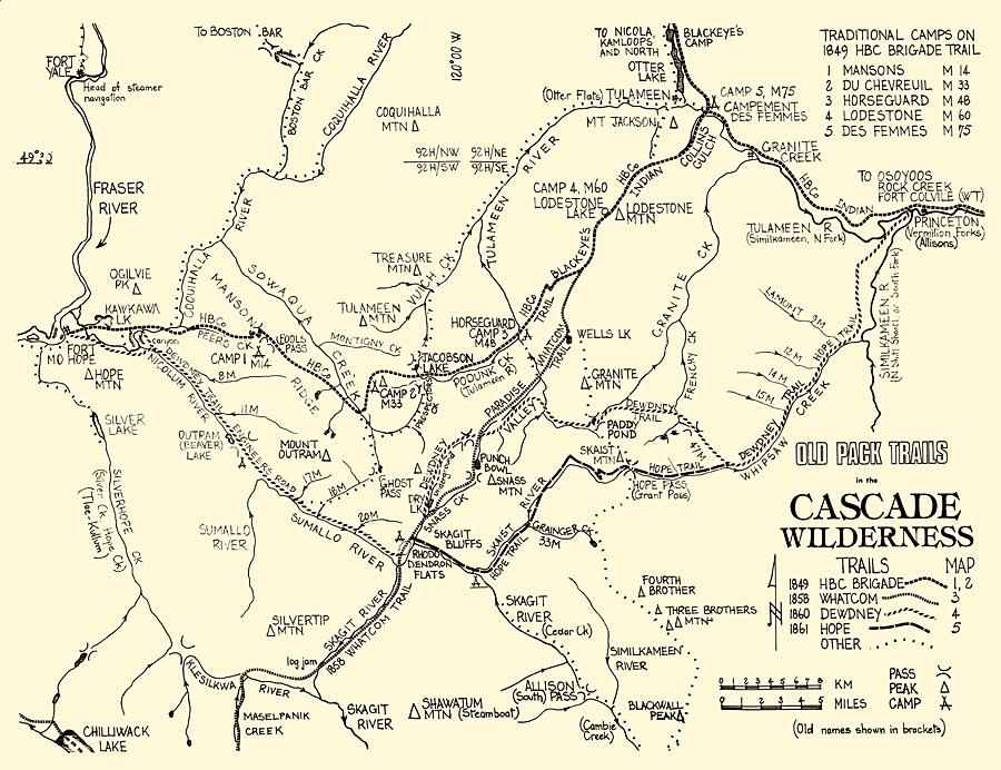 Map of the historic trails in the North Cascades Mountains of British Columbia. Courtesy Kelley Cook.