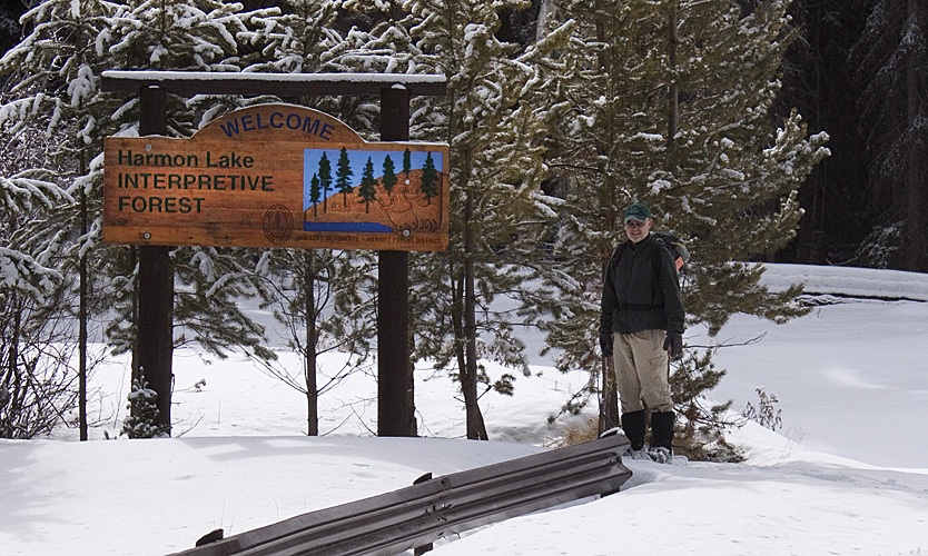 NNS director Chris Lepsoe at the entrance to the Harmon Lake Interpretive Forest
